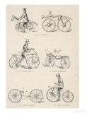 Variety of Early Bicycles Giclee Print
