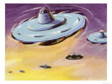 Squadron of Flying Saucers Giclee Print