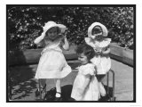 Three Little Girls in White Dresses with Matching Hats Giclee Print