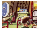 Control Cabin of a Space Rocket Giclee Print