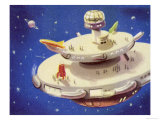 Space Satellite Serving as a Staging Post for Interplanetary Travel Giclee Print