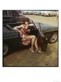 "Girl in a Classic Racing Green ""MGB"" Sports Car Giclee Print"