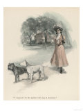 An American Girl Walks with an English Bull Terrier and and a Bulldog Giclee Print