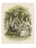 Sitting and Drinking Under a Tree Giclee Print