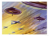 Train of Rockets Towed by a Flying Saucer Giclee Print