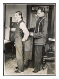 Customer Tries on a Suit the Tailor Has Made for Him, Suits You Sir! Reproduction procédé giclée