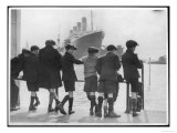 Group of Boys Lean Against the Dock Railings and Watch a Steamship Being Built Giclee Print