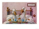 Couple of Geese Breakfast in Bed: Their Meal Includes Eggs Can They be Cannibals Giclee Print