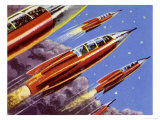 Military Rockets for Space Activity Armed with Death Rays Giclee Print