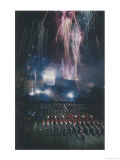 An Impressive Fireworks Display from Edinburgh Castle During the Famous Edinburgh Tattoo Giclee Print