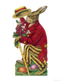 An Easter Rabbit Wearing a Red Coat and Stripy Trousers Brings Someone a Bouquet of Flowers Giclée-tryk