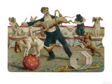 Dogs Jump Through a Hoop at the Paris Hippodrome Lámina giclée