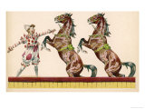 Two Horses Perform at the Circus Clown's Bidding Giclee Print