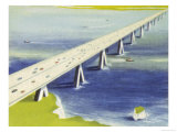 Channel Road Bridge Between Calais and Dover Giclee Print