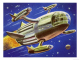 Interplanetary Spacecraft Carrying Four Smaller Rockets Giclee Print