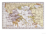 Map Showing the Extent of the Greek Empire and the Surrounding Territories Giclee Print