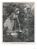 Young Woman Breaks from Her Gardening to Chat with a Neighbouring Farmer Who Leans on the Gate Giclee Print
