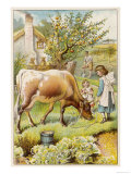 Dairy Cow with Two Girls Giclee Print