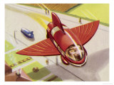 Automobile with Retractable Wings for the Purpose of Flight Giclee Print