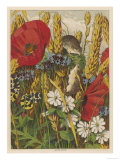 Two Harvest Mice Among the Ears of Corn and Poppies Lámina giclée