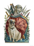 Belligerent Bulldog with an Array of Assorted Weaponry Giclee Print