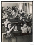 Class of Young Women Learning Sign Language at a School for the Deaf Giclee Print