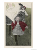 Children Running with a Kite Giclee Print by Sarah S. Stilwell