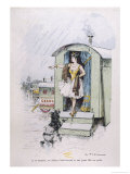 Performing Poodle with a Circus is Banished from a Caravan in the Rain Giclee Print by A. Vitmar