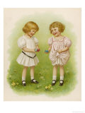 Two Children Compare Their Eggs on the Grass Giclee Print by Ida Waugh