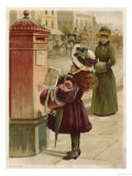 Little Girl in a Huge Fruit Festooned Bonnet Arms Full with a Doll Umbrella and Muff Looks Up Giclee Print