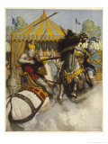 Lancelot Defeats Sir Mador de la Porte in the Battle to Uphold the Honour of Guinevere Giclee Print by Newell Convers Wyeth