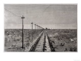 Telegraph Lines Running Alongside a Railway at a Remote Station in the Great Plains of America Giclee Print