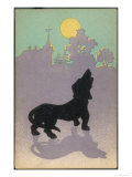 Dog Howls at the Full Moon Giclee Print