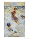 Australian Girls Sport in the Pacific Surf Giclee Print by Percy F.s. Spence