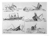 Sequence of Illustrations Showing the Sinking of the Titanic Giclee Print