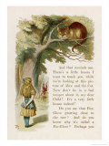 Alice et le chat du Cheshire Reproduction procédé giclée par John Tenniel