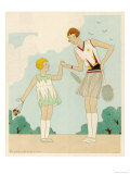 Girl Shows Her Younger Sister How to Hold Her Tennis Racquet Giclee Print