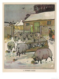 Flock of Sheep in the Snow Eating from a Trough While the Shepherd and Two Children Watch Giclee Print