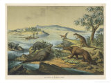 Animals and Plants of the Post-Jurassic Era in Southern England Giclée-Premiumdruck von Ferdinand Von Hochstetter