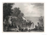 Henry Hudson Discovers the Hudson River Giclee Print by R.w. Weir