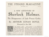 The Disappearance of Lady Frances Carfax Title Page of the Strand Magazine Giclee Print