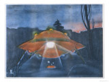 Landed UFO, with Lights and Luminous Spheres Giclee Print