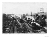 Goods Train Waits on One Track to Let the Passenger Train Go Through Giclee Print
