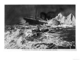 Illustration of the Wreck and Survivors in Lifeboat Giclee Print