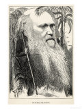 Charles Darwin, Depicted as a Wild Man of the Jungle Premium Giclee Print by F. Waddy