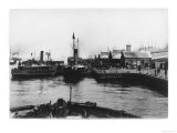 Two Ferry Steamers Leave Liverpool Quayside to Carry Passengers Across the Mersey Giclee Print
