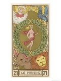 Tarot: 21 Le Monde, The World Giclee Print by Oswald Wirth