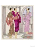 Three Women in Crepe Satin Lingerie by Premet (Lace by Racine) Chat Casually of This and That Giclee Print