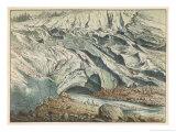 Termination of the Mer de Glace on Mont Blanc in the Valley of Chamounix Giclée-Druck von Ferdinand Von Hochstetter