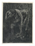 Woodcutter Keeps Prudently out of the Way of Some Very Large Trolls Giclee Print by Erik Werenskjold